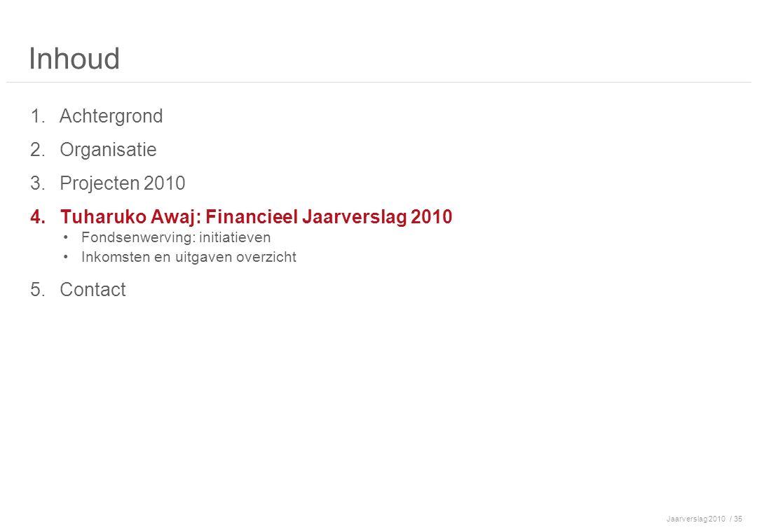 Jaarverslag 2010/ 35 Inhoud 1.Achtergrond 2.Organisatie 3.Projecten 2010 4.Tuharuko Awaj: Financieel Jaarverslag 2010 Fondsenwerving: initiatieven Inkomsten en uitgaven overzicht 5.Contact