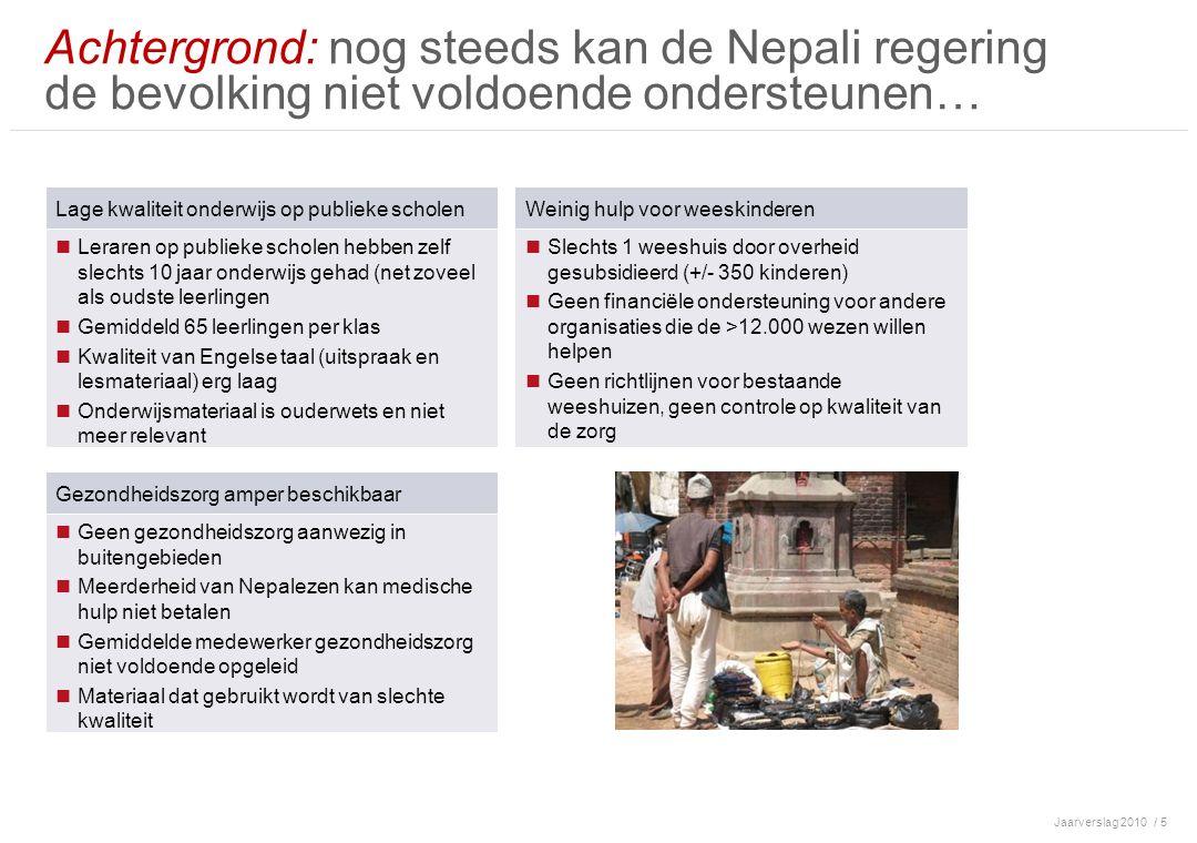 Jaarverslag 2010/ 6 2006: Vrijwilligerswerk voor Volunteer Society Nepal (VSN) bracht deze situatie onder onze ogen i.s.m Tej Shrestha (voorzitter VSN en toenmalige project mgr bij Rode Kruis) enkele kleine succesvolle projecten opgezet Besloten om in de toekomst samen te werken om structurele hulp te bieden 2007:-2009 In Nederland stichting Tuharuko Awaj opgericht, met als eerste doel, geld inzamelen voor kleinschalig weeshuis Succesvolle opening van New Life Children's home Vanwege vele aanvragen voor andere projecten en succesvolle fondsenwerving in Nederland besloten om in Nepal de Everest Foundation op te richten, met Tej Shrestha als full time bestuurslid Oprichting Basisschool Career Building International Academy; uitbreiding tot 350 leerlingen Start girl's scholarship program in Solokhumbu 2010: Uitbreiding scholarship programma in Solokhumbu en in Kavre Verhuizing weeshuis naar betere huisvesting Professionalisering lokale management en medewerkers Doelstellingen 2011: Stabilisatie huidige projecten Nieuwbouwplannen school/weeshuis Achtergrond: …daarom is Tuharuko awaj aan de slag gegaan