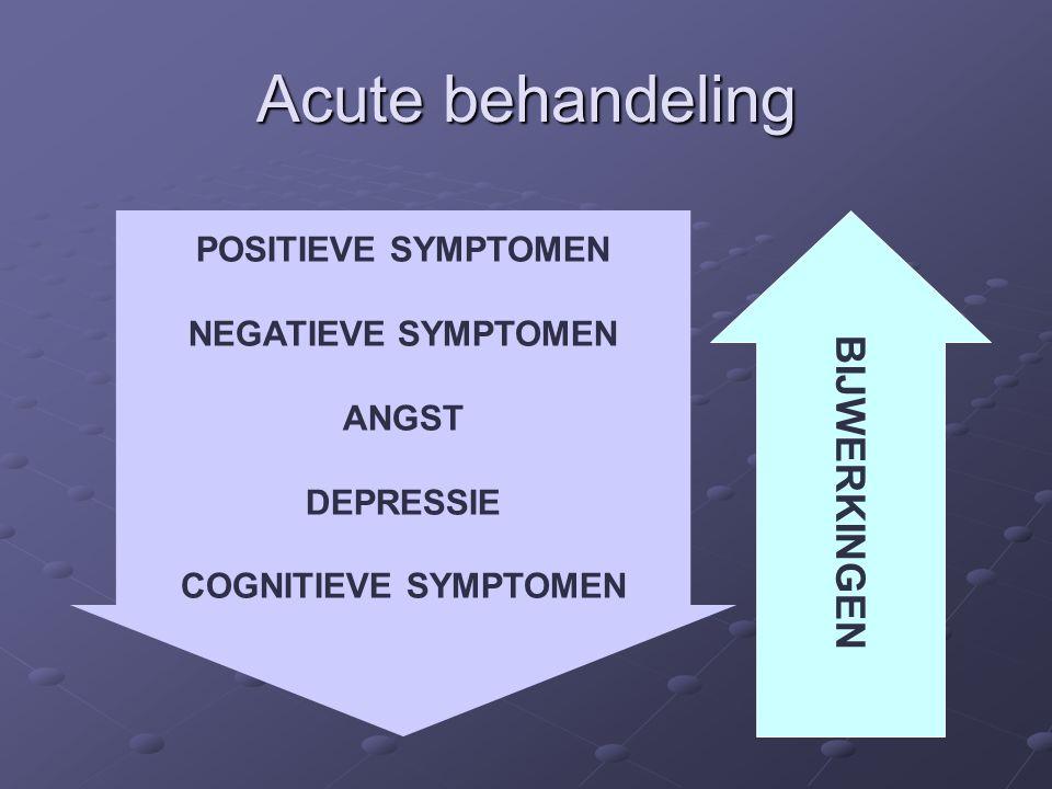 Acute behandeling POSITIEVE SYMPTOMEN NEGATIEVE SYMPTOMEN ANGST DEPRESSIE COGNITIEVE SYMPTOMEN BIJWERKINGEN