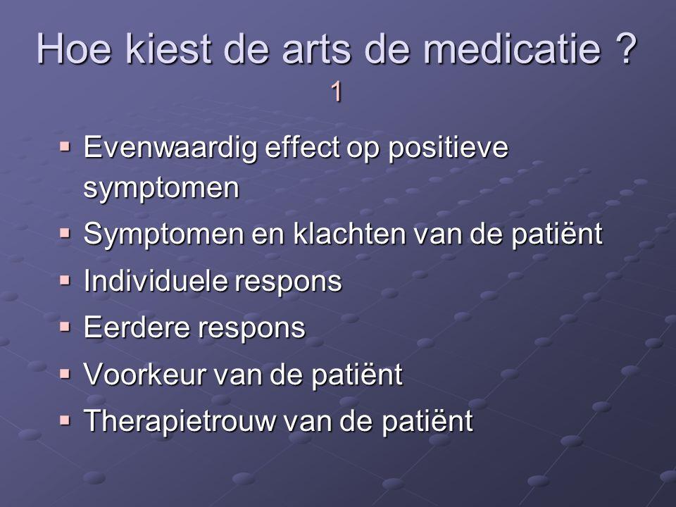 Hoe kiest de arts de medicatie ? 1  Evenwaardig effect op positieve symptomen  Symptomen en klachten van de patiënt  Individuele respons  Eerdere