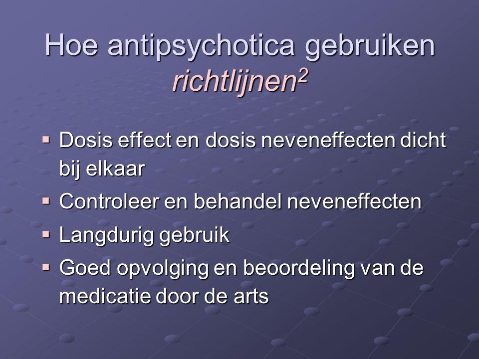  Dosis effect en dosis neveneffecten dicht bij elkaar  Controleer en behandel neveneffecten  Langdurig gebruik  Goed opvolging en beoordeling van