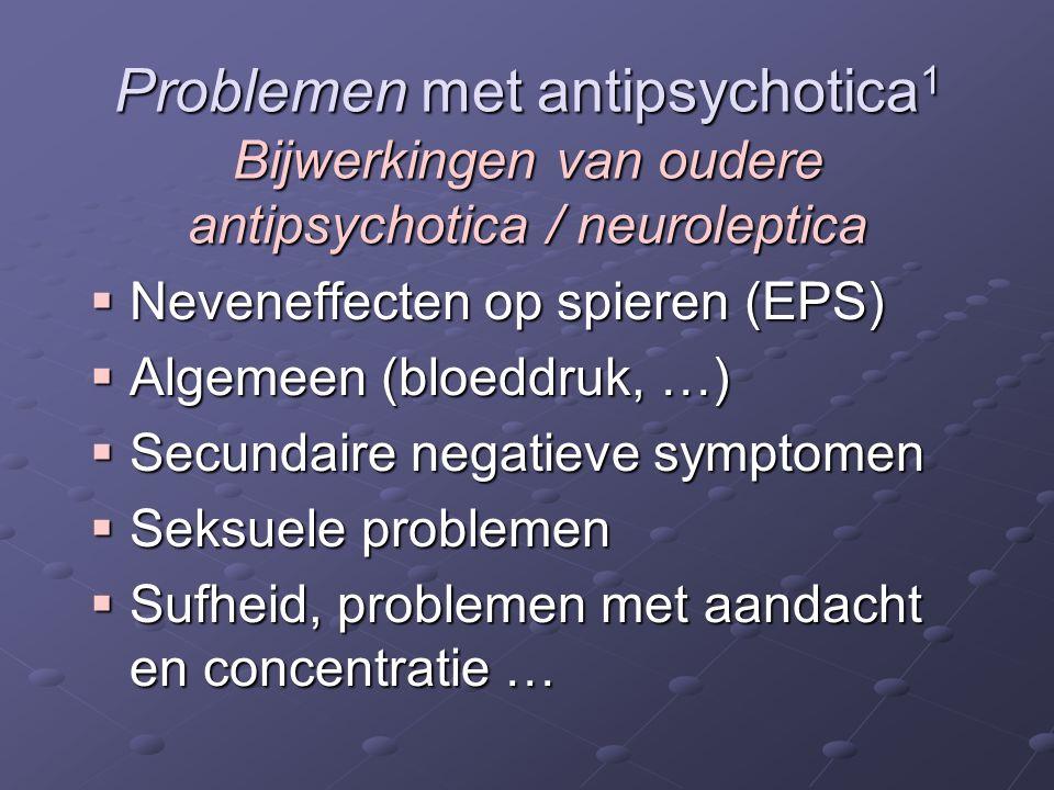 Problemen met antipsychotica 1 Bijwerkingen van oudere antipsychotica / neuroleptica  Neveneffecten op spieren (EPS)  Algemeen (bloeddruk, …)  Secu