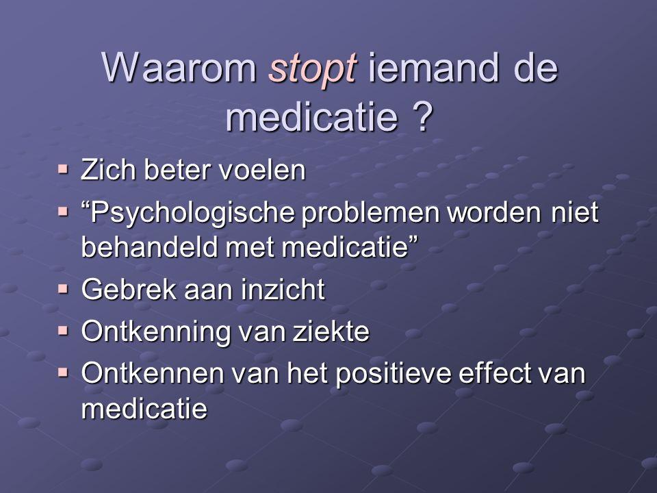 """ Zich beter voelen  """"Psychologische problemen worden niet behandeld met medicatie""""  Gebrek aan inzicht  Ontkenning van ziekte  Ontkennen van het"""