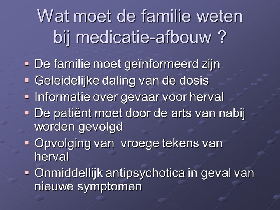 Wat moet de familie weten bij medicatie-afbouw ?  De familie moet geïnformeerd zijn  Geleidelijke daling van de dosis  Informatie over gevaar voor