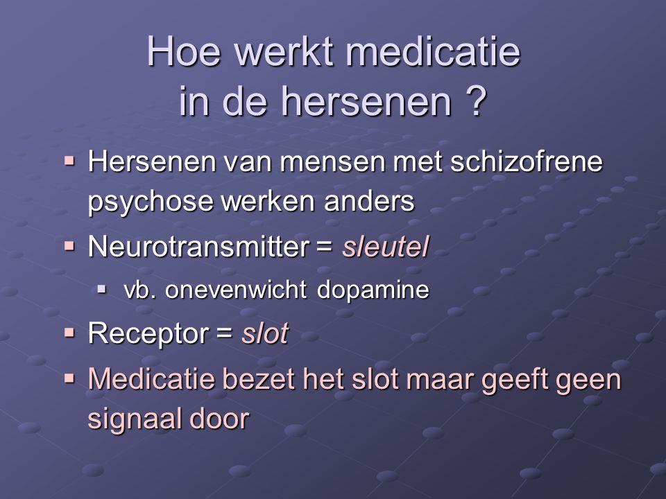 Hoe werkt medicatie in de hersenen ?  Hersenen van mensen met schizofrene psychose werken anders  Neurotransmitter = sleutel  vb. onevenwicht dopam