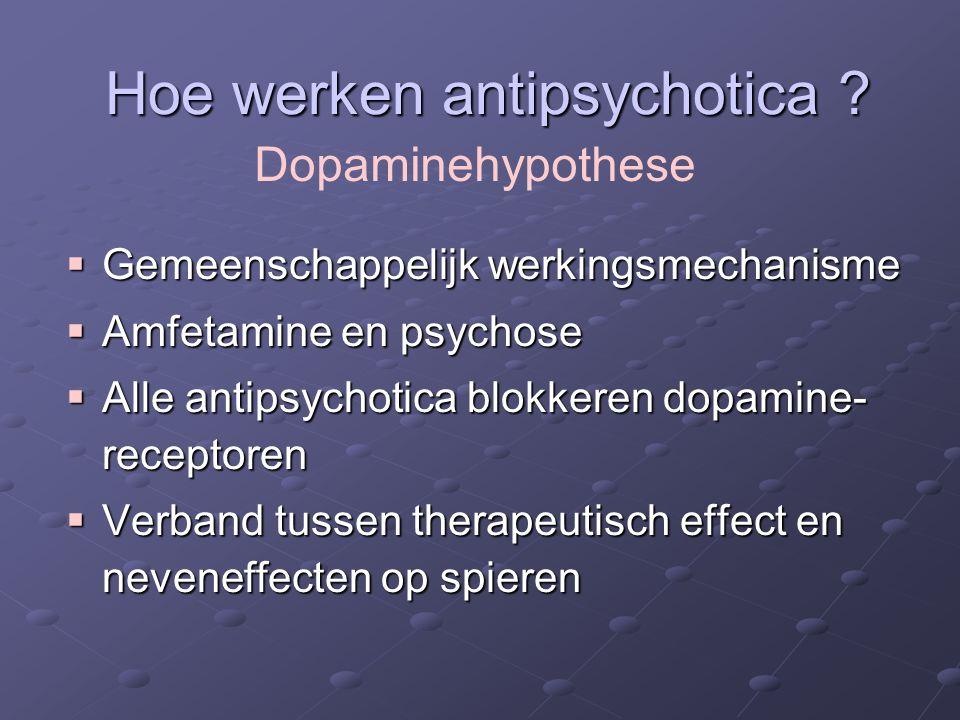 Dopamine en Schizofrenie Nigrostriataal (motoriek) Tuberoinfundibulair(prolactine) MesocorticaalHypoactiviteit Negatieve symptomens Cognitieve beperkingen Hyperactiviteit: Positieve symptomen Mesolimbisch