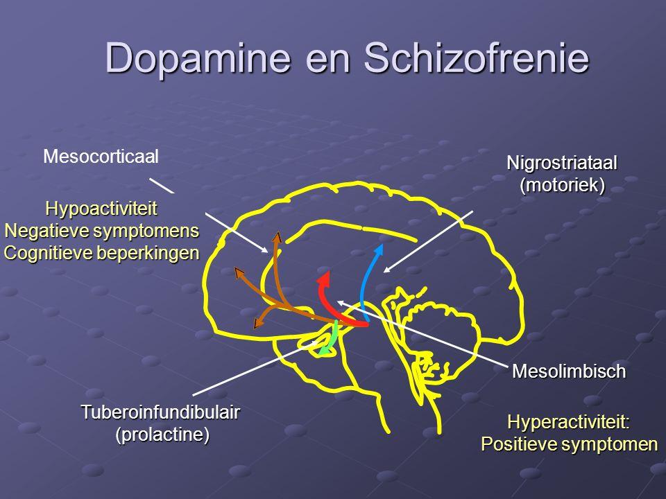 Dopamine en Schizofrenie Nigrostriataal (motoriek) Tuberoinfundibulair(prolactine) MesocorticaalHypoactiviteit Negatieve symptomens Cognitieve beperki