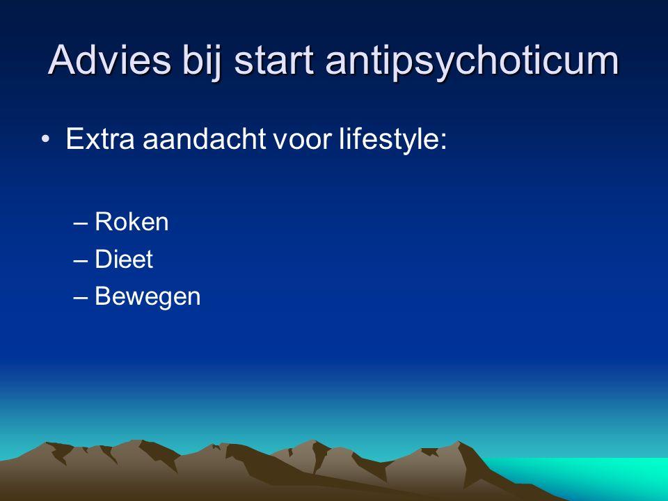 Advies bij start antipsychoticum Extra aandacht voor lifestyle: –Roken –Dieet –Bewegen