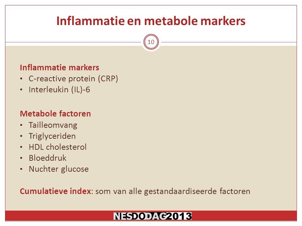Inflammatie en metabole markers Inflammatie markers C-reactive protein (CRP) Interleukin (IL)-6 Metabole factoren Tailleomvang Triglyceriden HDL cholesterol Bloeddruk Nuchter glucose Cumulatieve index: som van alle gestandaardiseerde factoren 10 DAG2013