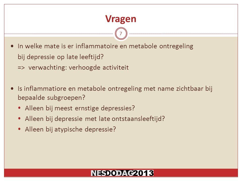 Vragen In welke mate is er inflammatoire en metabole ontregeling bij depressie op late leeftijd.