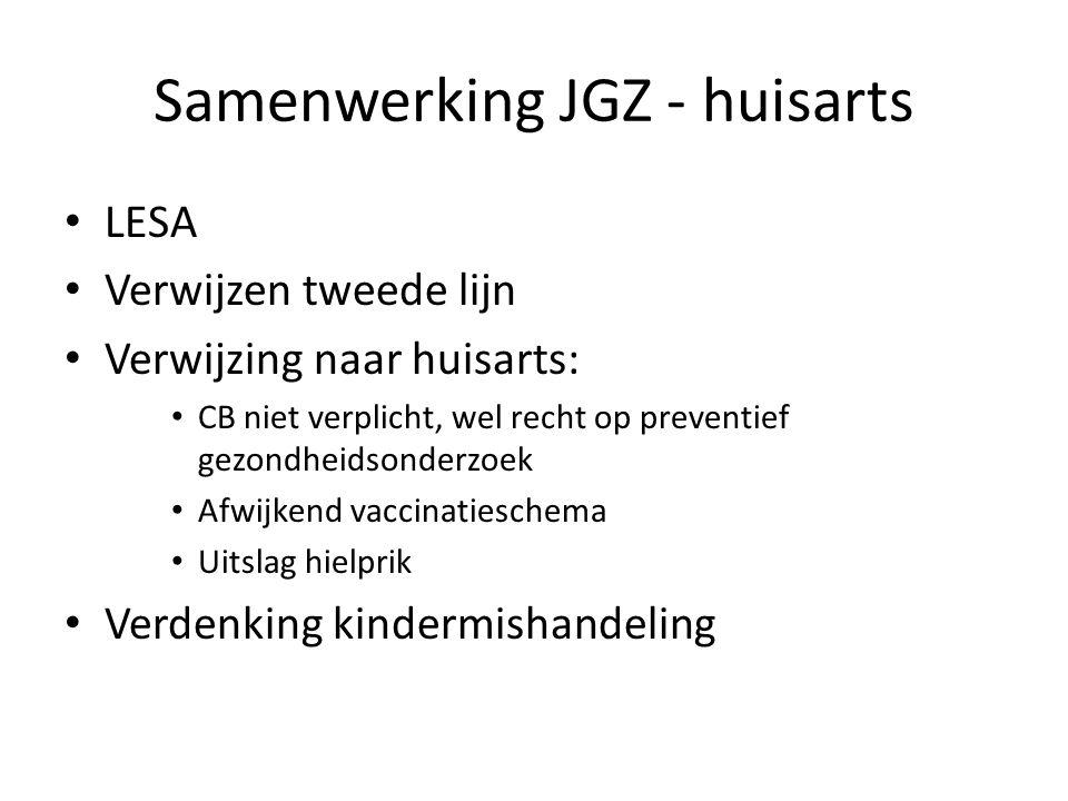 Samenwerking JGZ - huisarts LESA Verwijzen tweede lijn Verwijzing naar huisarts: CB niet verplicht, wel recht op preventief gezondheidsonderzoek Afwijkend vaccinatieschema Uitslag hielprik Verdenking kindermishandeling