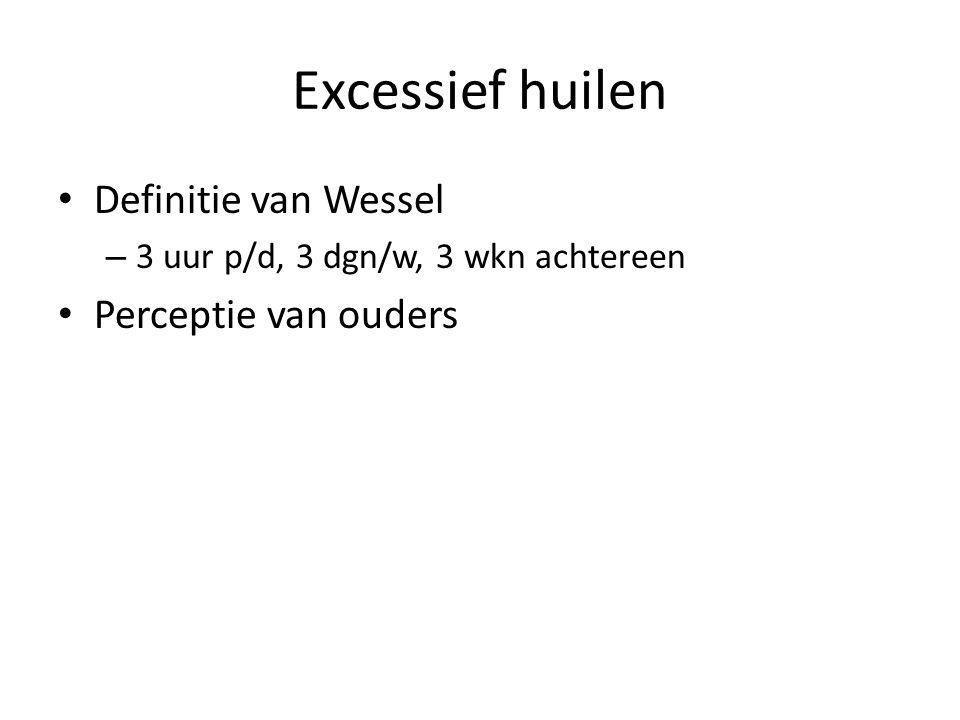 Excessief huilen Definitie van Wessel – 3 uur p/d, 3 dgn/w, 3 wkn achtereen Perceptie van ouders