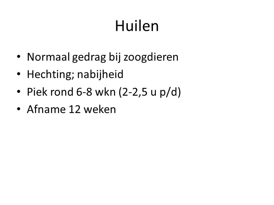 Huilen Normaal gedrag bij zoogdieren Hechting; nabijheid Piek rond 6-8 wkn (2-2,5 u p/d) Afname 12 weken