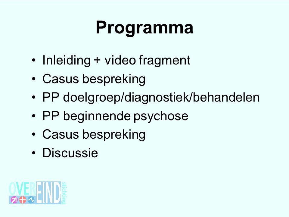 Programma Inleiding + video fragment Casus bespreking PP doelgroep/diagnostiek/behandelen PP beginnende psychose Casus bespreking Discussie