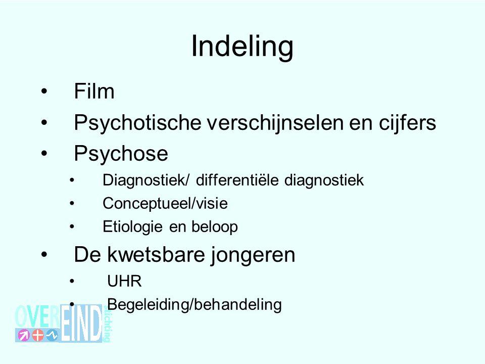 Indeling Film Psychotische verschijnselen en cijfers Psychose Diagnostiek/ differentiële diagnostiek Conceptueel/visie Etiologie en beloop De kwetsbare jongeren UHR Begeleiding/behandeling