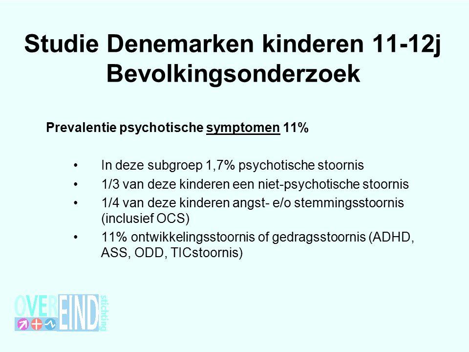 Studie Denemarken kinderen 11-12j Bevolkingsonderzoek Prevalentie psychotische symptomen 11% In deze subgroep 1,7% psychotische stoornis 1/3 van deze kinderen een niet-psychotische stoornis 1/4 van deze kinderen angst- e/o stemmingsstoornis (inclusief OCS) 11% ontwikkelingsstoornis of gedragsstoornis (ADHD, ASS, ODD, TICstoornis)