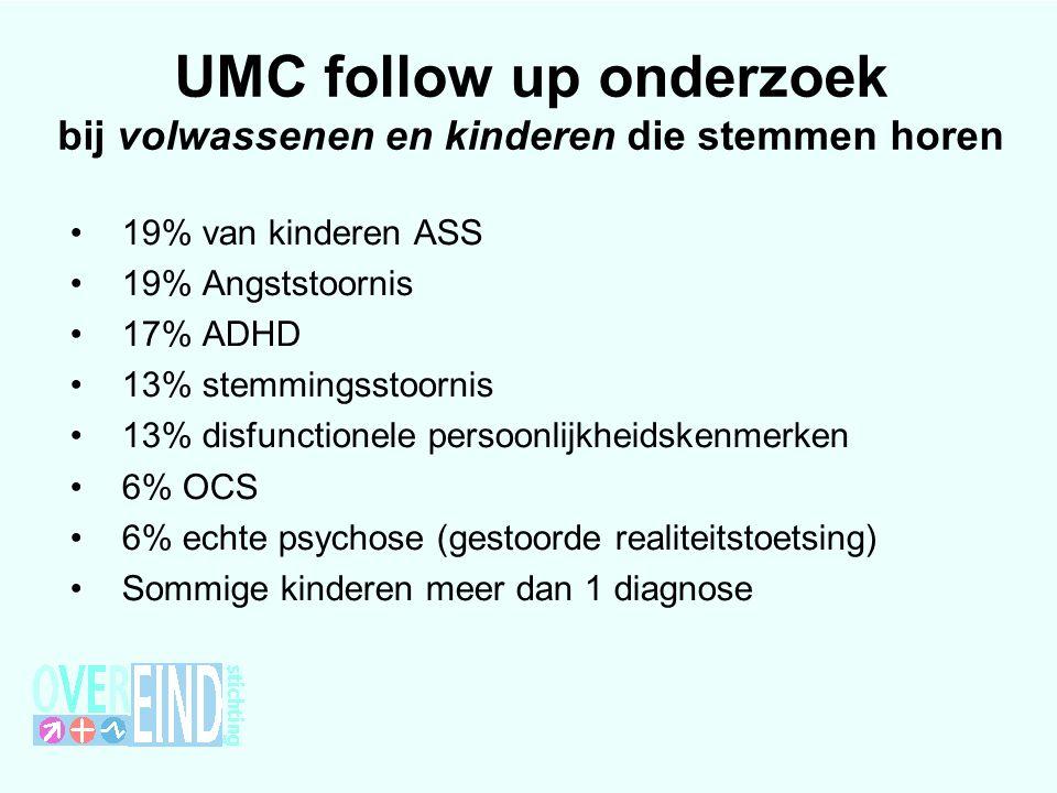 UMC follow up onderzoek bij volwassenen en kinderen die stemmen horen 19% van kinderen ASS 19% Angststoornis 17% ADHD 13% stemmingsstoornis 13% disfunctionele persoonlijkheidskenmerken 6% OCS 6% echte psychose (gestoorde realiteitstoetsing) Sommige kinderen meer dan 1 diagnose