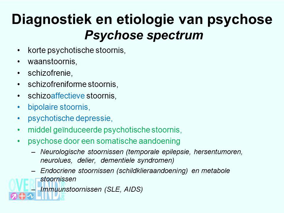 Diagnostiek en etiologie van psychose Psychose spectrum korte psychotische stoornis, waanstoornis, schizofrenie, schizofreniforme stoornis, schizoaffectieve stoornis, bipolaire stoornis, psychotische depressie, middel geïnduceerde psychotische stoornis, psychose door een somatische aandoening –Neurologische stoornissen (temporale epilepsie, hersentumoren, neurolues, delier, dementiele syndromen) –Endocriene stoornissen (schildklieraandoening) en metabole stoornissen –Immuunstoornissen (SLE, AIDS)