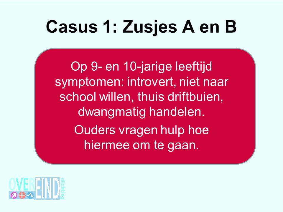 Casus 1: Zusjes A en B Op 9- en 10-jarige leeftijd symptomen: introvert, niet naar school willen, thuis driftbuien, dwangmatig handelen.