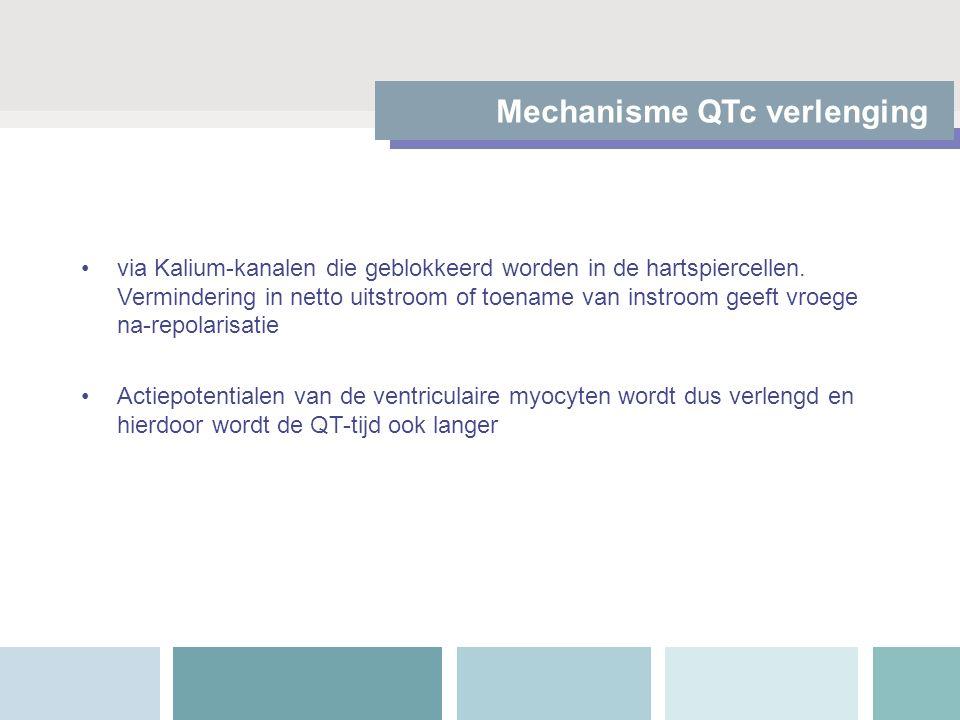 Mechanisme QTc verlenging via Kalium-kanalen die geblokkeerd worden in de hartspiercellen. Vermindering in netto uitstroom of toename van instroom gee