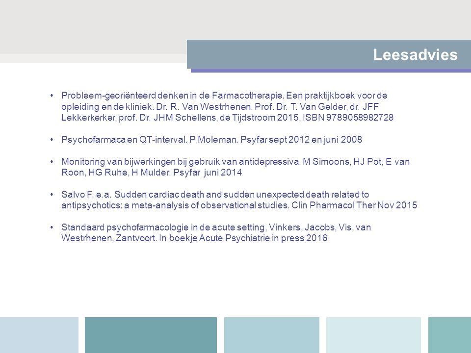 Leesadvies Probleem-georiënteerd denken in de Farmacotherapie. Een praktijkboek voor de opleiding en de kliniek. Dr. R. Van Westrhenen. Prof. Dr. T. V