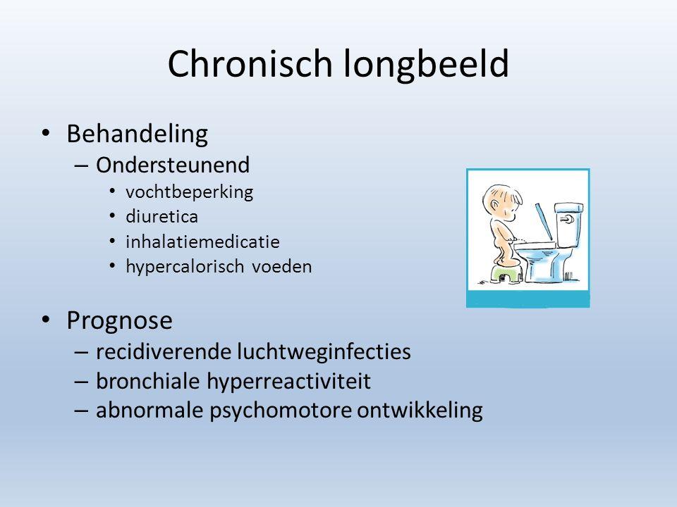 Chronisch longbeeld Behandeling – Ondersteunend vochtbeperking diuretica inhalatiemedicatie hypercalorisch voeden Prognose – recidiverende luchtweginf