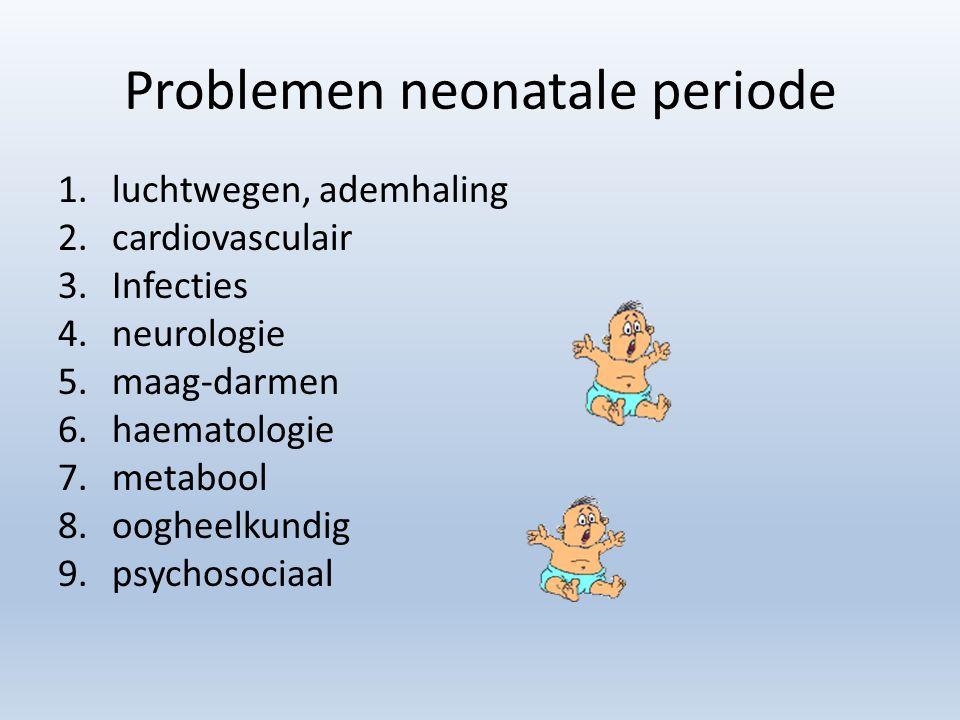Problemen neonatale periode 1.luchtwegen, ademhaling 2.cardiovasculair 3.Infecties 4.neurologie 5.maag-darmen 6.haematologie 7.metabool 8.oogheelkundig 9.psychosociaal