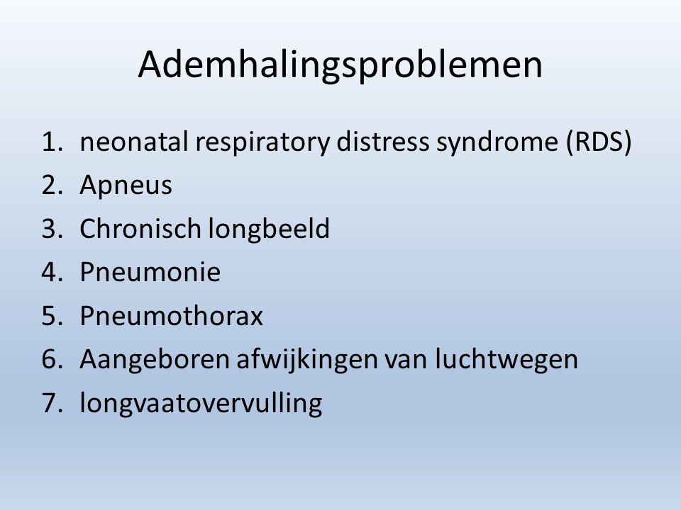 Ademhalingsproblemen 1.neonatal respiratory distress syndrome (RDS) 2.Apneus 3.Chronisch longbeeld 4.Pneumonie 5.Pneumothorax 6.Aangeboren afwijkingen van luchtwegen 7.longvaatovervulling