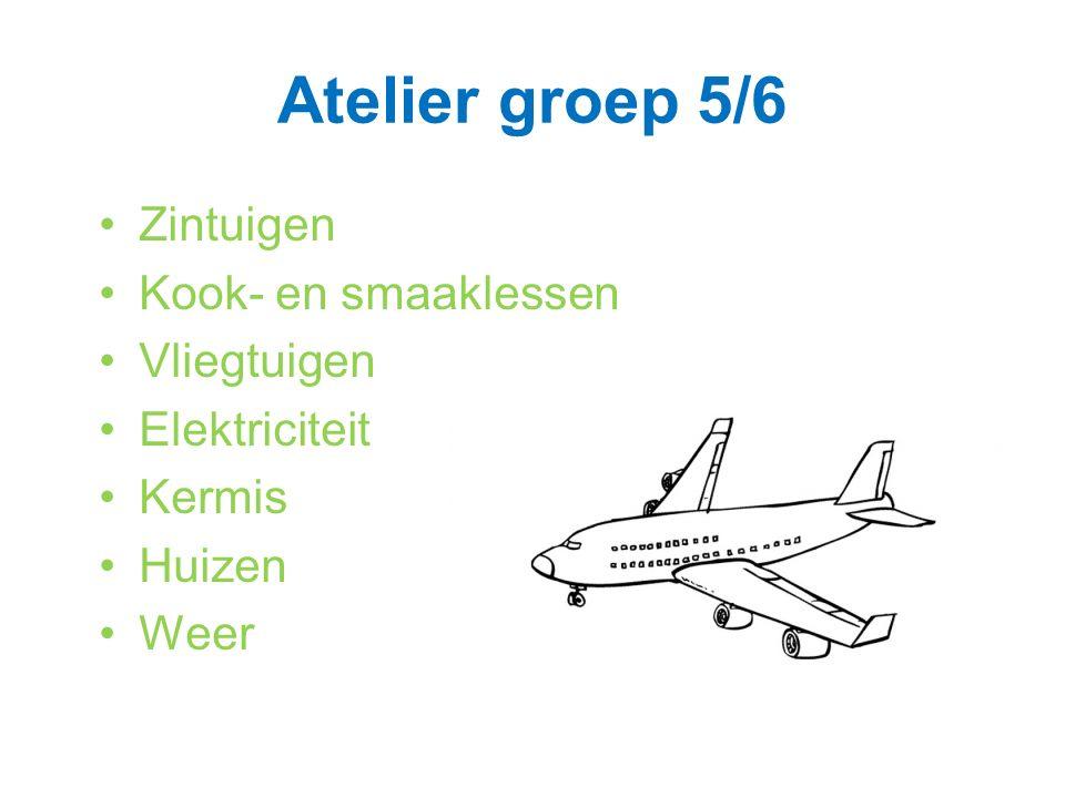 Atelier groep 5/6 Zintuigen Kook- en smaaklessen Vliegtuigen Elektriciteit Kermis Huizen Weer
