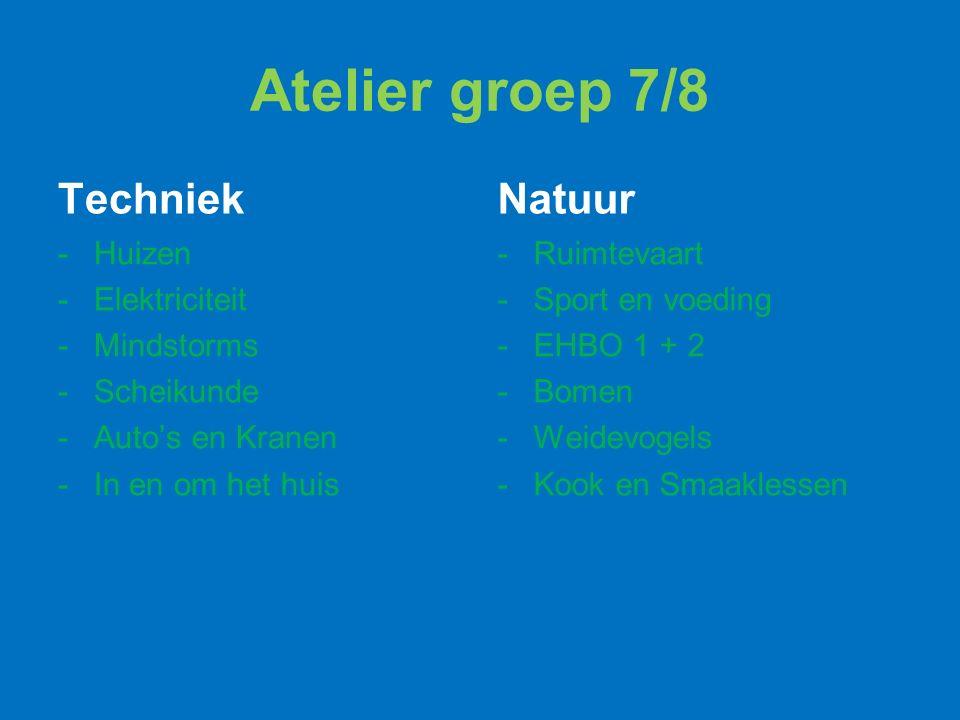 Atelier groep 7/8 Techniek -Huizen -Elektriciteit -Mindstorms -Scheikunde -Auto's en Kranen -In en om het huis Natuur -Ruimtevaart -Sport en voeding -EHBO 1 + 2 -Bomen -Weidevogels -Kook en Smaaklessen