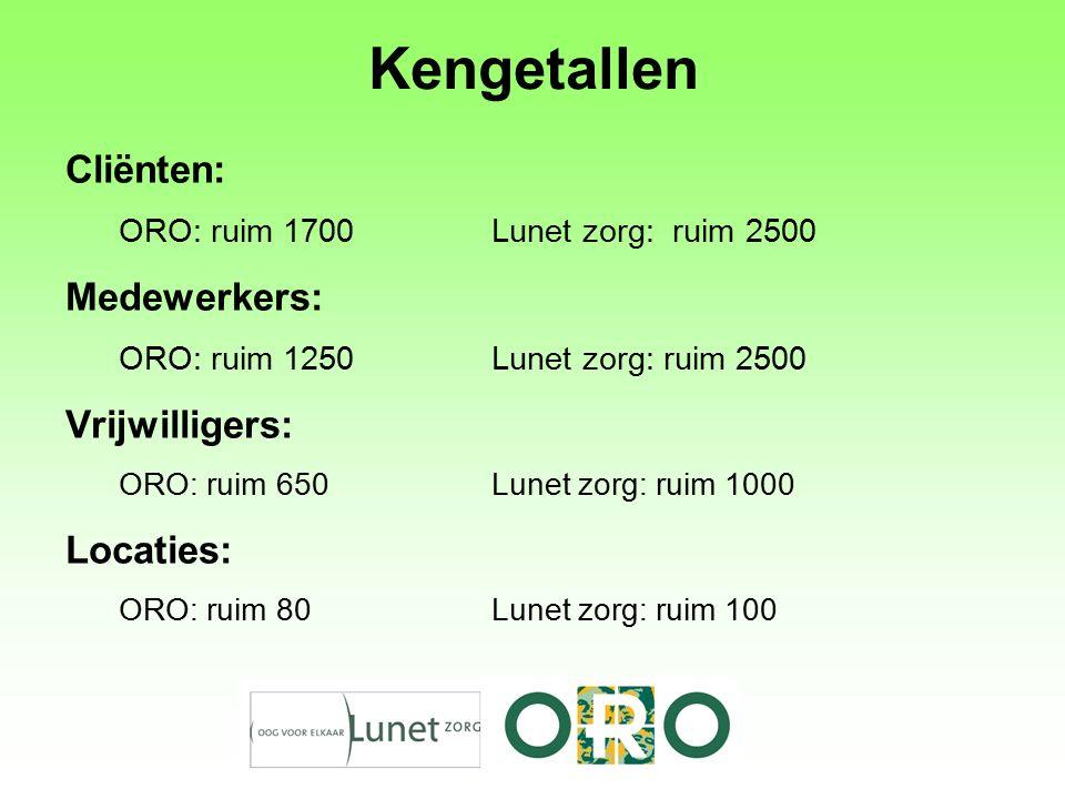 Kengetallen Cliënten: ORO: ruim 1700 Lunet zorg: ruim 2500 Medewerkers: ORO: ruim 1250 Lunet zorg: ruim 2500 Vrijwilligers: ORO: ruim 650Lunet zorg: ruim 1000 Locaties: ORO: ruim 80Lunet zorg: ruim 100