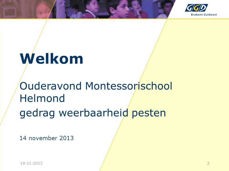 Welkom Ouderavond Montessorischool Helmond gedrag weerbaarheid pesten 14 november 2013 214-11-2013
