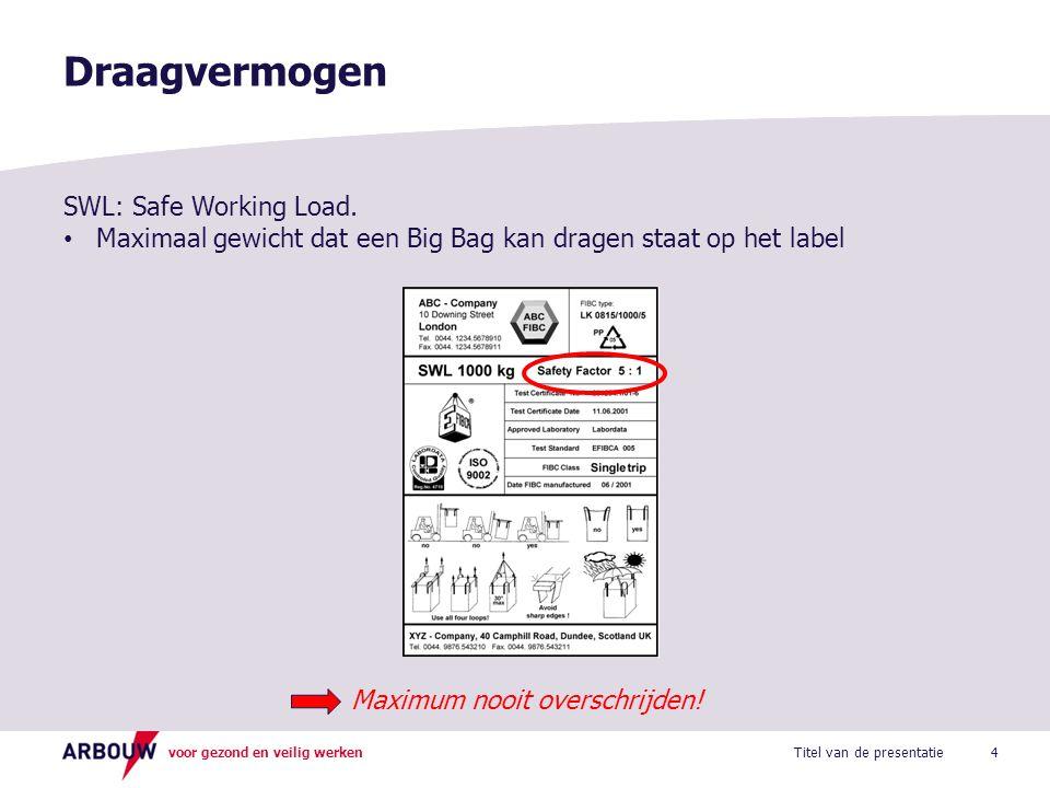 voor gezond en veilig werken Draagvermogen 4Titel van de presentatie SWL: Safe Working Load. Maximaal gewicht dat een Big Bag kan dragen staat op het