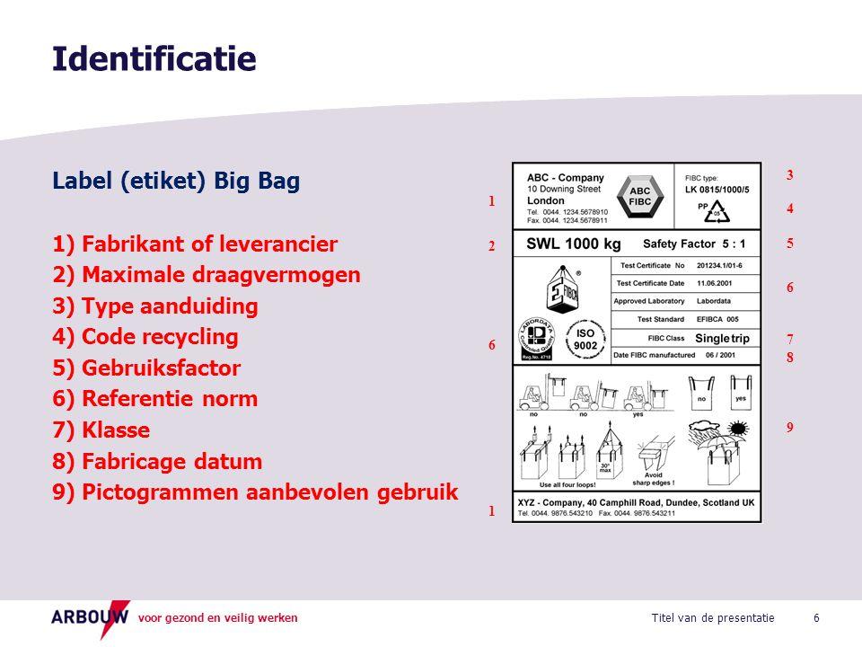 voor gezond en veilig werken Label (etiket) Big Bag 1) Fabrikant of leverancier 2) Maximale draagvermogen 3) Type aanduiding 4) Code recycling 5) Gebr