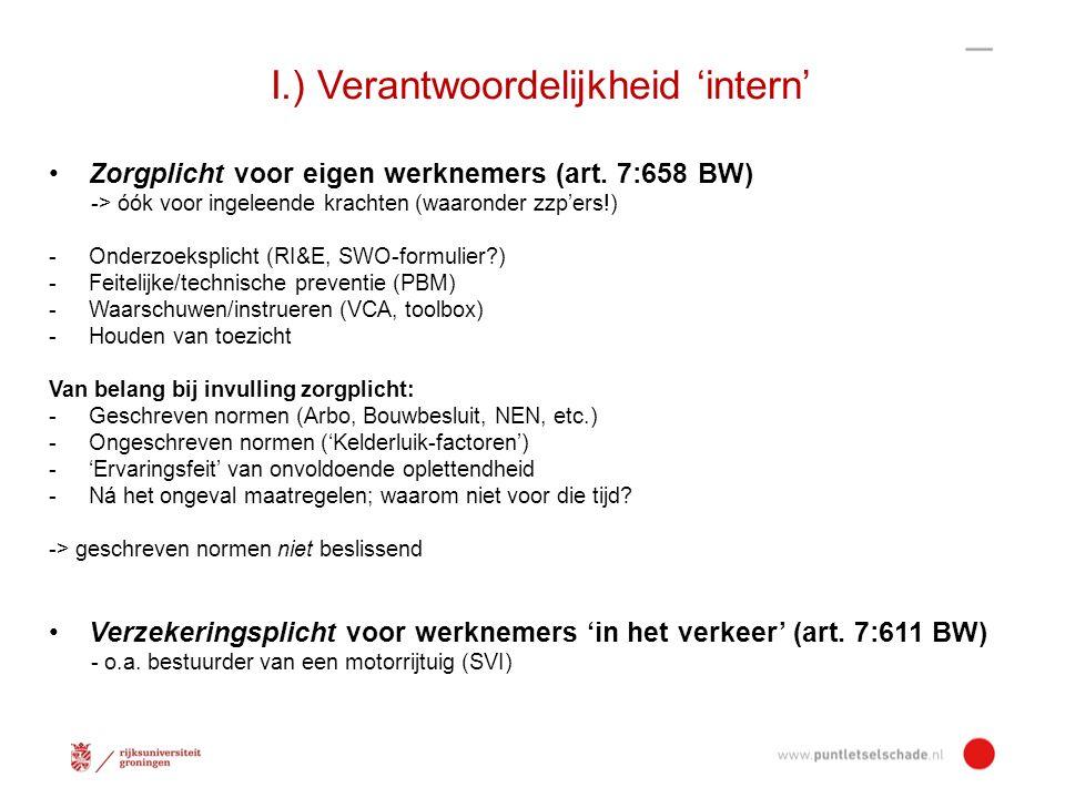 I.) Verantwoordelijkheid 'intern' Zorgplicht voor eigen werknemers (art.