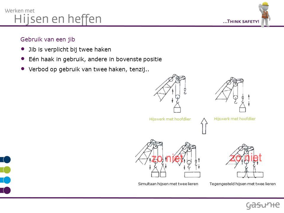Gebruik van een jib Jib is verplicht bij twee haken Eén haak in gebruik, andere in bovenste positie Verbod op gebruik van twee haken, tenzij..