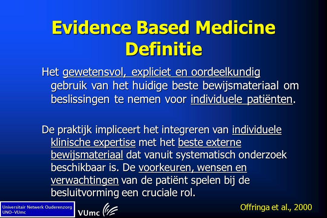 Evidence Based Medicine Definitie Het gewetensvol, expliciet en oordeelkundig gebruik van het huidige beste bewijsmateriaal om beslissingen te nemen voor individuele patiënten.