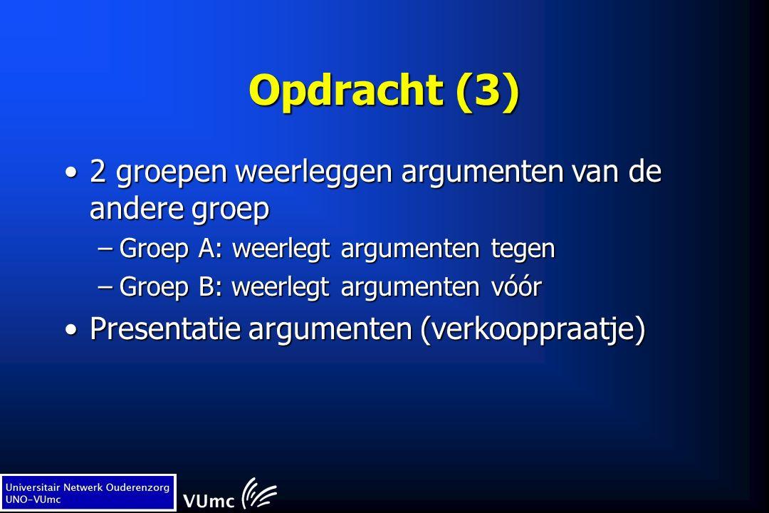 Opdracht (3) 2 groepen weerleggen argumenten van de andere groep2 groepen weerleggen argumenten van de andere groep –Groep A: weerlegt argumenten tege