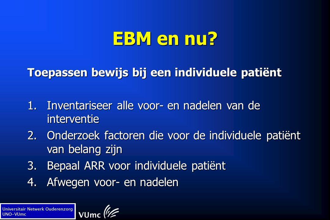 EBM en nu? Toepassen bewijs bij een individuele patiënt 1.Inventariseer alle voor- en nadelen van de interventie 2.Onderzoek factoren die voor de indi