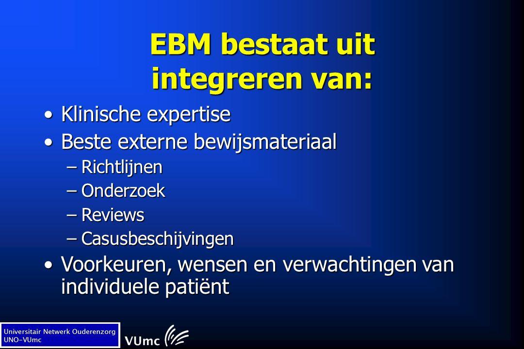 EBM bestaat uit integreren van: Klinische expertiseKlinische expertise Beste externe bewijsmateriaalBeste externe bewijsmateriaal –Richtlijnen –Onderzoek –Reviews –Casusbeschijvingen Voorkeuren, wensen en verwachtingen van individuele patiëntVoorkeuren, wensen en verwachtingen van individuele patiënt