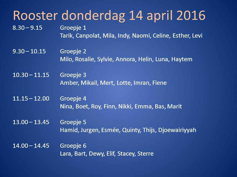 Rooster donderdag 14 april 2016 8.30 – 9.15 Groepje 1 Tarik, Canpolat, Mila, Indy, Naomi, Celine, Esther, Levi 9.30 – 10.15 Groepje 2 Milo, Rosalie, S