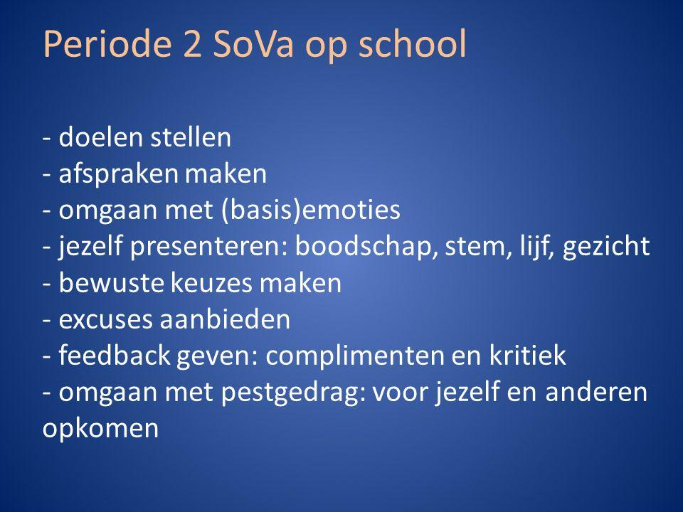 Periode 2 SoVa op school - doelen stellen - afspraken maken - omgaan met (basis)emoties - jezelf presenteren: boodschap, stem, lijf, gezicht - bewuste