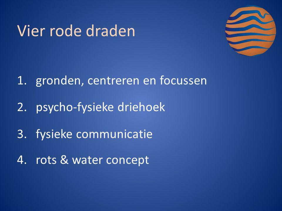 1.gronden, centreren en focussen 2.psycho-fysieke driehoek 3.fysieke communicatie 4.rots & water concept Vier rode draden