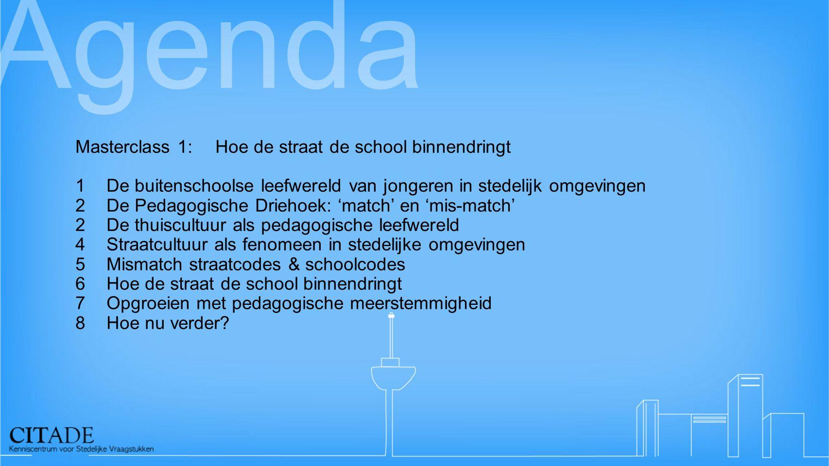 Agenda Masterclass 1:Hoe de straat de school binnendringt 1De buitenschoolse leefwereld van jongeren in stedelijk omgevingen 2De Pedagogische Driehoek