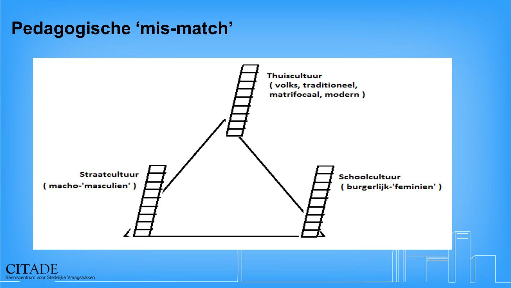 Pedagogische 'mis-match' Thuiscultuur (traditioneel) (volks) Schoolcultuur (masculien / volks) Straatcultuur (masculien)