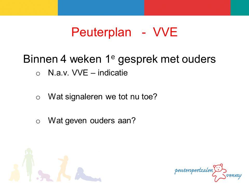 Peuterplan - VVE Binnen 4 weken 1 e gesprek met ouders o N.a.v.