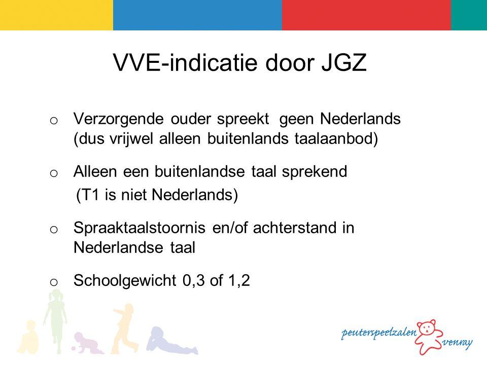 VVE-indicatie door JGZ o Verzorgende ouder spreekt geen Nederlands (dus vrijwel alleen buitenlands taalaanbod) o Alleen een buitenlandse taal sprekend (T1 is niet Nederlands) o Spraaktaalstoornis en/of achterstand in Nederlandse taal o Schoolgewicht 0,3 of 1,2