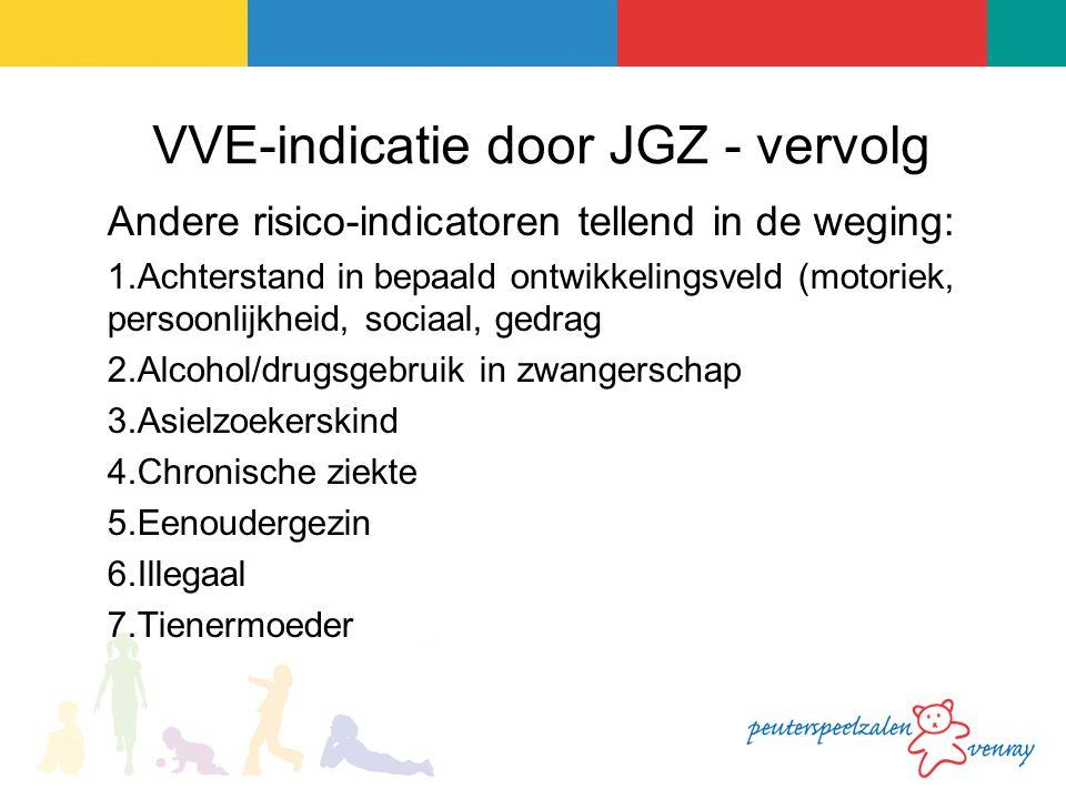VVE-indicatie door JGZ - vervolg Andere risico-indicatoren tellend in de weging: 1.Achterstand in bepaald ontwikkelingsveld (motoriek, persoonlijkheid, sociaal, gedrag 2.Alcohol/drugsgebruik in zwangerschap 3.Asielzoekerskind 4.Chronische ziekte 5.Eenoudergezin 6.Illegaal 7.Tienermoeder