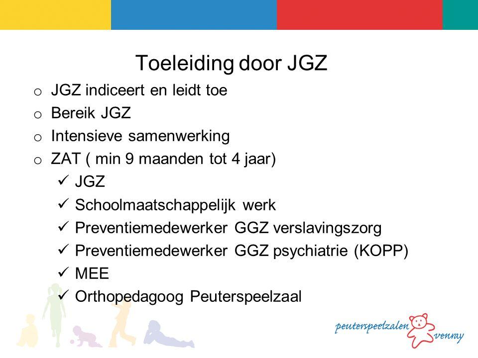 Toeleiding door JGZ o JGZ indiceert en leidt toe o Bereik JGZ o Intensieve samenwerking o ZAT ( min 9 maanden tot 4 jaar) JGZ Schoolmaatschappelijk werk Preventiemedewerker GGZ verslavingszorg Preventiemedewerker GGZ psychiatrie (KOPP) MEE Orthopedagoog Peuterspeelzaal