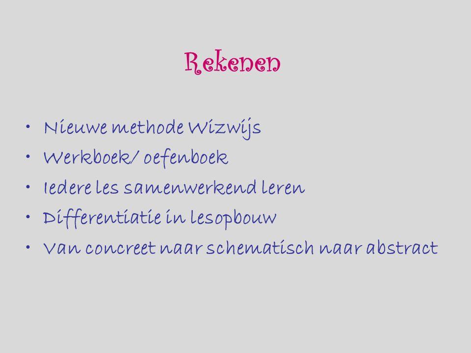 Rekenen Nieuwe methode Wizwijs Werkboek/ oefenboek Iedere les samenwerkend leren Differentiatie in lesopbouw Van concreet naar schematisch naar abstract